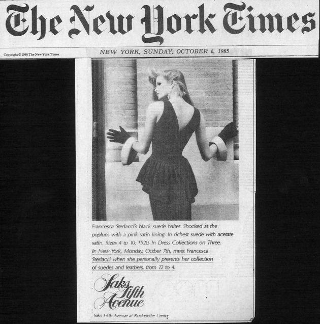 New York Times – Saks Trunk Show – Francesca Sterlacci Ltd