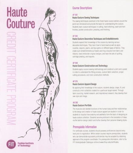 FIT – Haute Couture Certificate Program