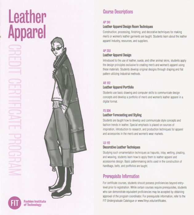 FIT – Leather Apparel Certificate Program